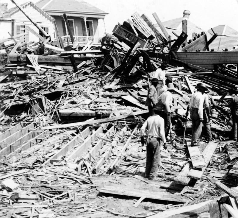 Ruins from Galveston Hurricane (comparing to radiation disaster)