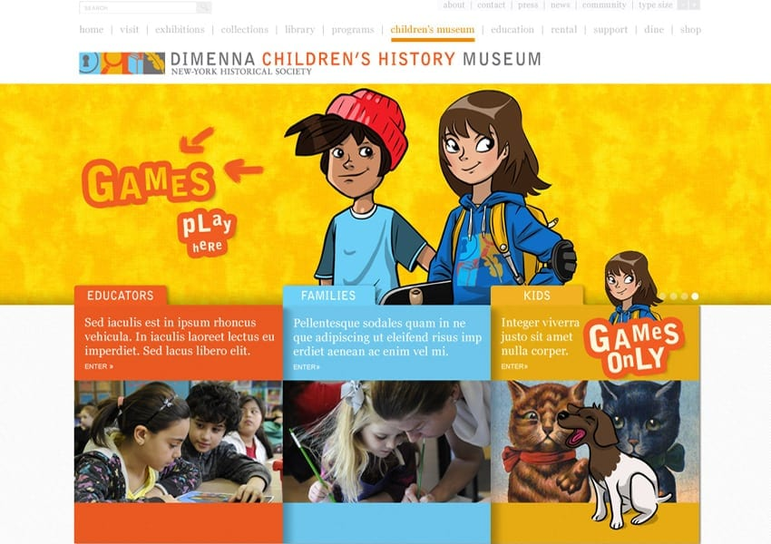 DiMenna Children's History Museum website design, Tronvig Group