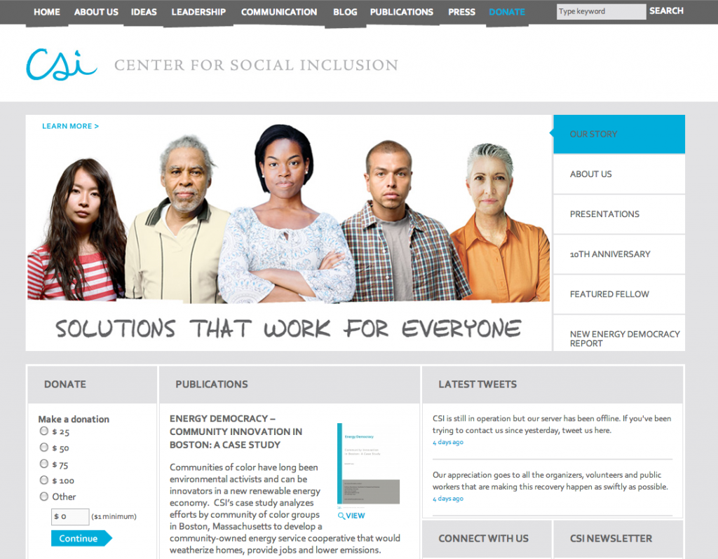 Center for Social Inclusion Website Refresh