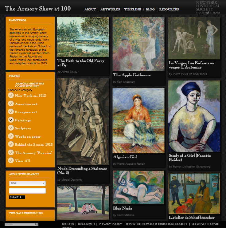 he Armory Show at 100 Website, Tronivg Group